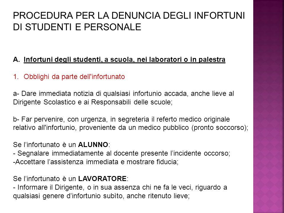 PROCEDURA PER LA DENUNCIA DEGLI INFORTUNI DI STUDENTI E PERSONALE A.Infortuni degli studenti, a scuola, nei laboratori o in palestra 1.Obblighi da par