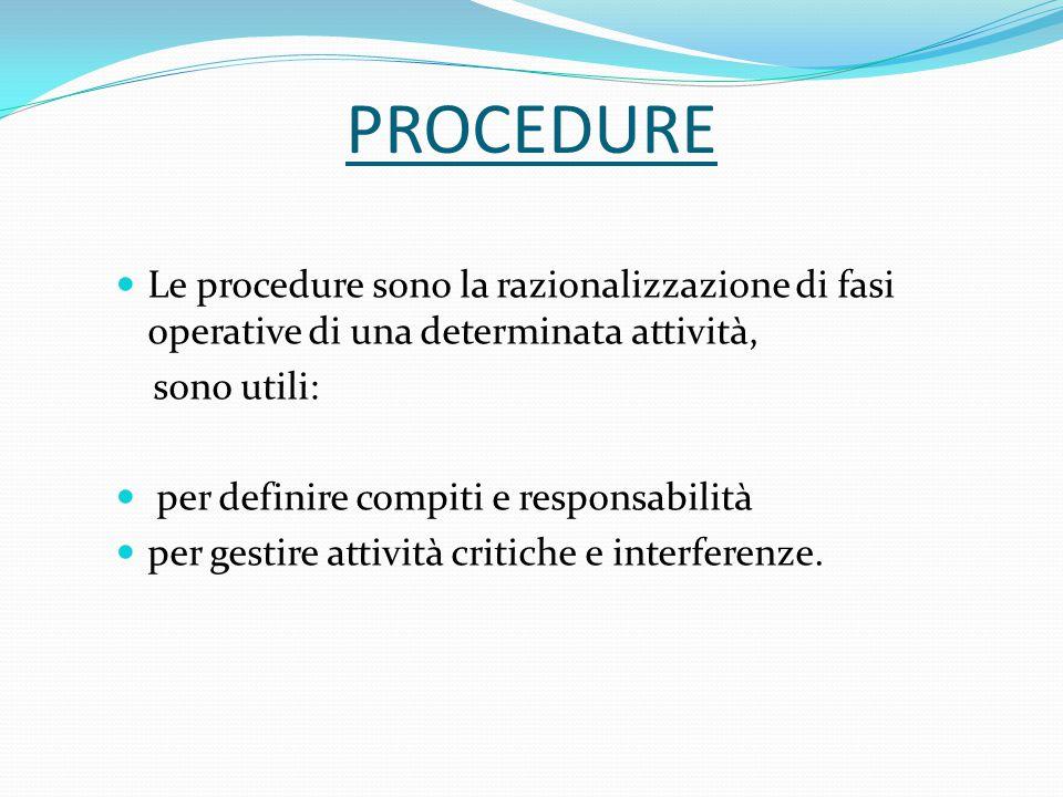 PROCEDURE Le procedure sono la razionalizzazione di fasi operative di una determinata attività, sono utili: per definire compiti e responsabilità per