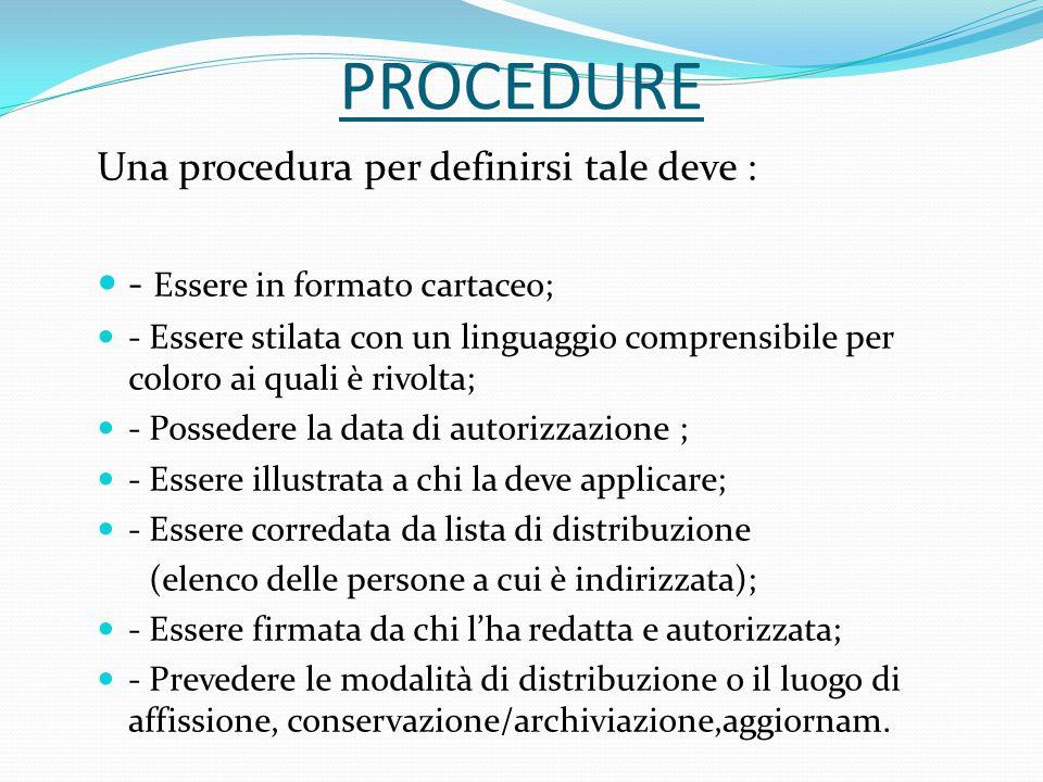PROCEDURE Una procedura per definirsi tale deve : - Essere in formato cartaceo; - Essere stilata con un linguaggio comprensibile per coloro ai quali è
