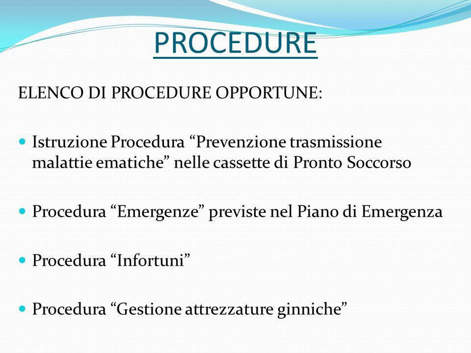 """PROCEDURE ELENCO DI PROCEDURE OPPORTUNE: Istruzione Procedura """"Prevenzione trasmissione malattie ematiche"""" nelle cassette di Pronto Soccorso Procedura"""