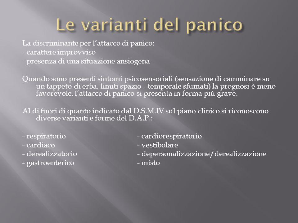 La discriminante per l'attacco di panico: - carattere improvviso - presenza di una situazione ansiogena Quando sono presenti sintomi psicosensoriali (
