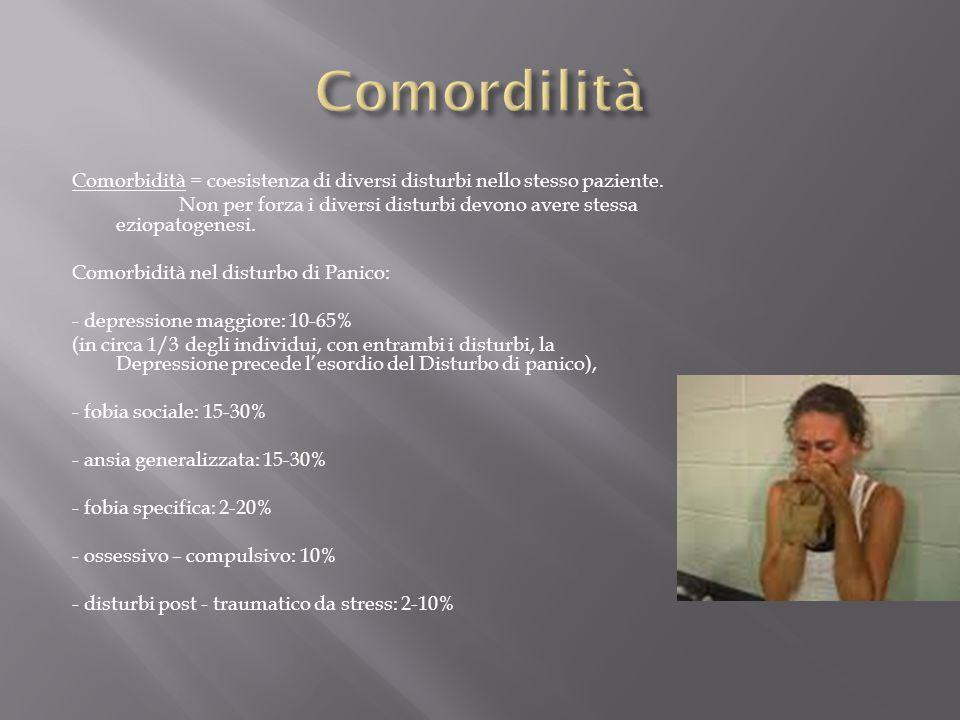 Comorbidità = coesistenza di diversi disturbi nello stesso paziente. Non per forza i diversi disturbi devono avere stessa eziopatogenesi. Comorbidità