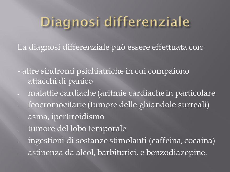 La diagnosi differenziale può essere effettuata con: - altre sindromi psichiatriche in cui compaiono attacchi di panico - malattie cardiache (aritmie