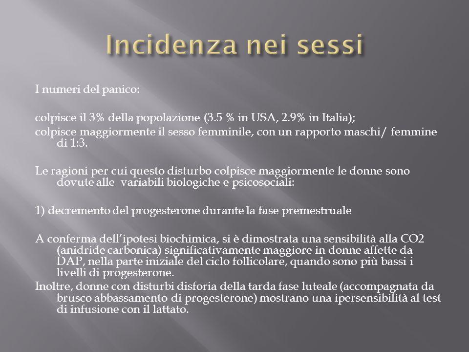 I numeri del panico: colpisce il 3% della popolazione (3.5 % in USA, 2.9% in Italia); colpisce maggiormente il sesso femminile, con un rapporto maschi