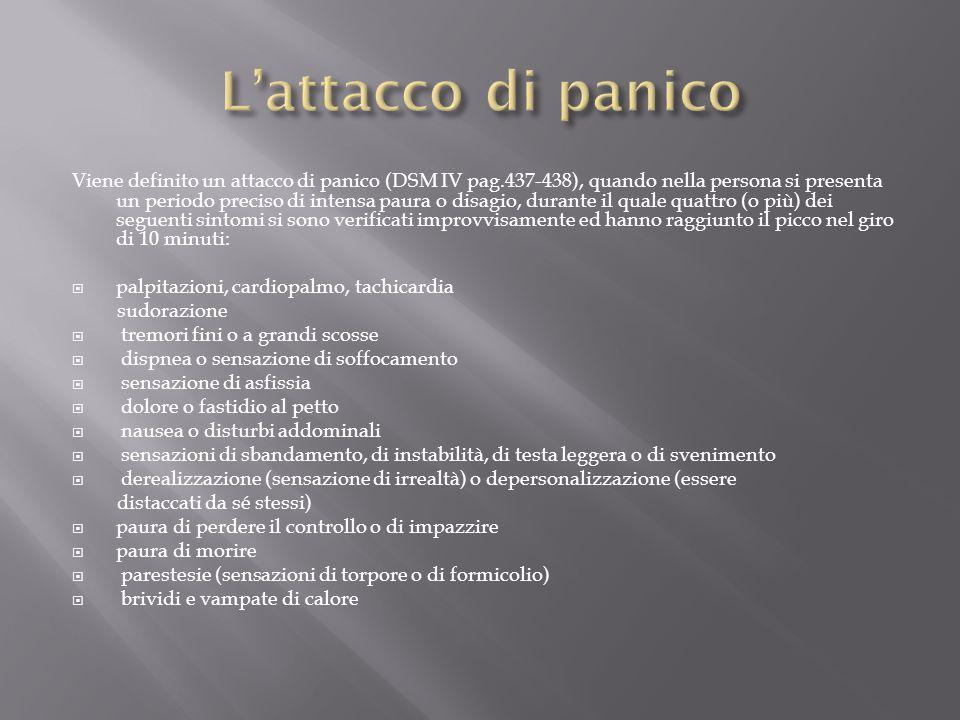 Viene definito un attacco di panico (DSM IV pag.437-438), quando nella persona si presenta un periodo preciso di intensa paura o disagio, durante il q