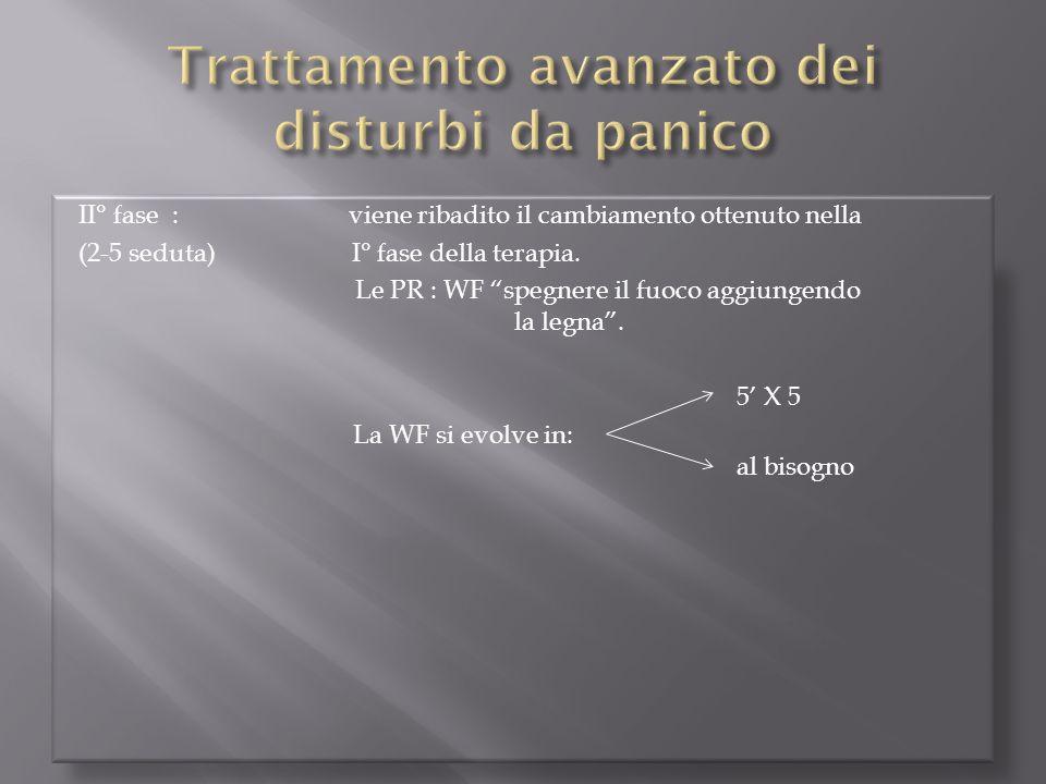 """II° fase : viene ribadito il cambiamento ottenuto nella (2-5 seduta) I° fase della terapia. Le PR : WF """"spegnere il fuoco aggiungendo la legna"""". 5' X"""