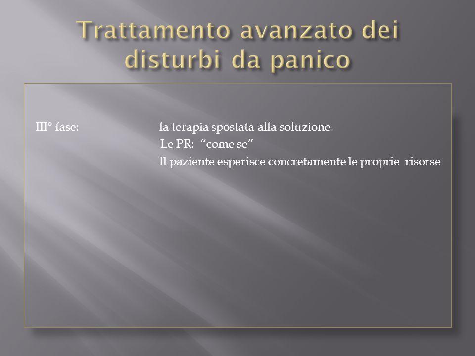 """III° fase: la terapia spostata alla soluzione. Le PR: """"come se"""" Il paziente esperisce concretamente le proprie risorse"""