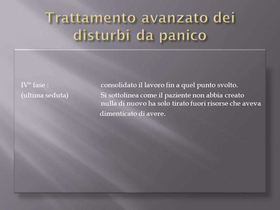 IV° fase :consolidato il lavoro fin a quel punto svolto. (ultima seduta)Si sottolinea come il paziente non abbia creato nulla di nuovo ha solo tirato