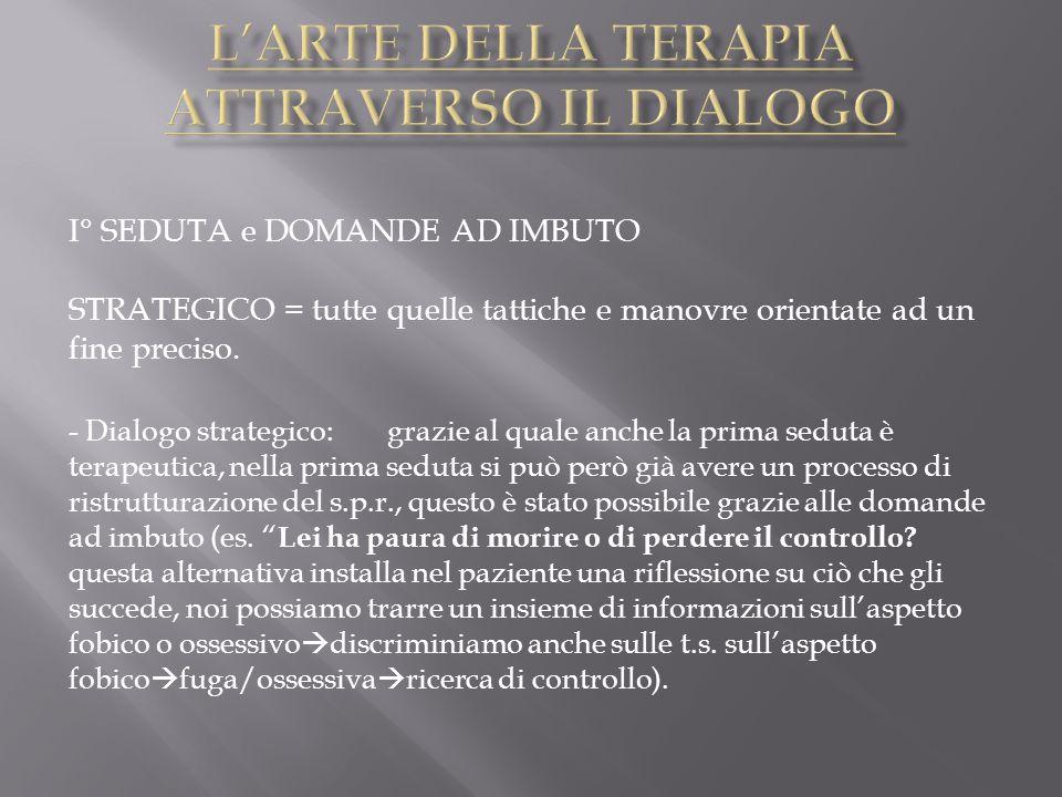 I° SEDUTA e DOMANDE AD IMBUTO STRATEGICO = tutte quelle tattiche e manovre orientate ad un fine preciso. - Dialogo strategico: grazie al quale anche l