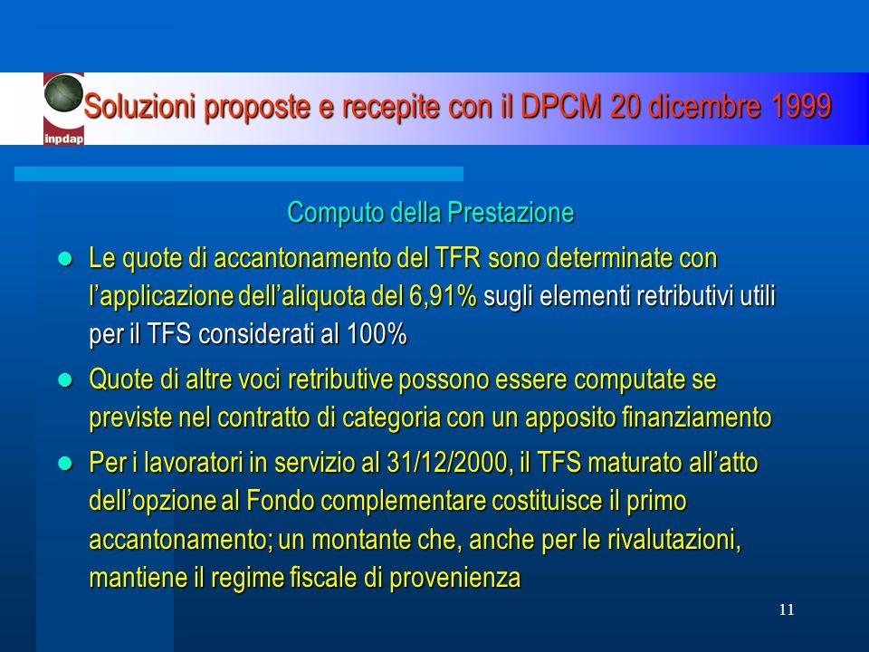 11 Soluzioni proposte e recepite con il DPCM 20 dicembre 1999 Computo della Prestazione Le quote di accantonamento del TFR sono determinate con l'applicazione dell'aliquota del 6,91% sugli elementi retributivi utili per il TFS considerati al 100% Le quote di accantonamento del TFR sono determinate con l'applicazione dell'aliquota del 6,91% sugli elementi retributivi utili per il TFS considerati al 100% Quote di altre voci retributive possono essere computate se previste nel contratto di categoria con un apposito finanziamento Quote di altre voci retributive possono essere computate se previste nel contratto di categoria con un apposito finanziamento Per i lavoratori in servizio al 31/12/2000, il TFS maturato all'atto dell'opzione al Fondo complementare costituisce il primo accantonamento; un montante che, anche per le rivalutazioni, mantiene il regime fiscale di provenienza Per i lavoratori in servizio al 31/12/2000, il TFS maturato all'atto dell'opzione al Fondo complementare costituisce il primo accantonamento; un montante che, anche per le rivalutazioni, mantiene il regime fiscale di provenienza