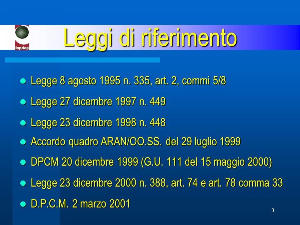 3 Leggi di riferimento Legge 8 agosto 1995 n. 335, art.