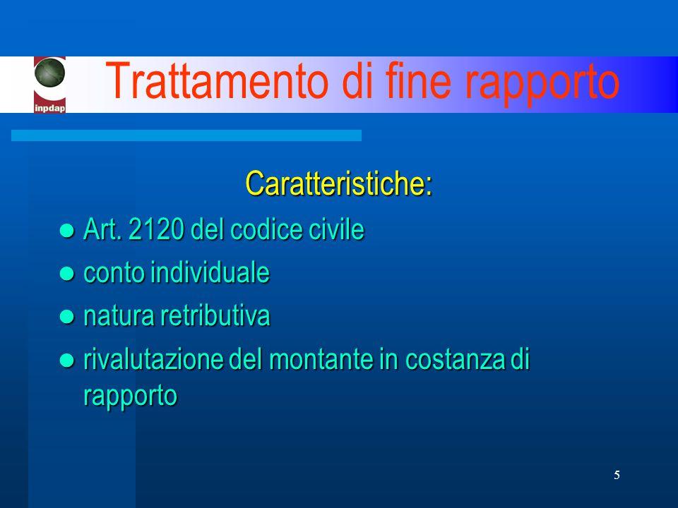 5 Trattamento di fine rapporto Caratteristiche: Art.
