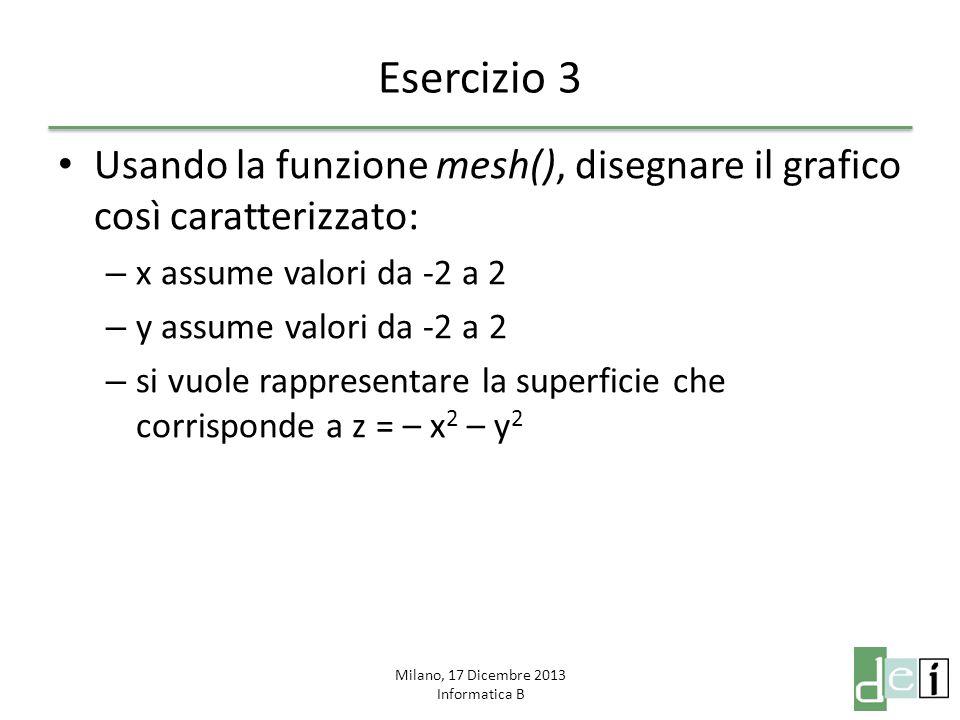 Milano, 17 Dicembre 2013 Informatica B Esercizio 4 Scrivere in un file.m una funzione che prenda in input una certa funzione ed un certo intervallo e ne disegni l immagine in un grafico Scrivere uno script che plotti nell'intervallo [–pi_greco; pi_greco] le seguenti funzioni su di uno stesso grafico utilizzando colori e simboli diversi: – sin(x) – cos(x) – tan(x) – sin(x)/x – cos(x)^2 + sin(x)^2