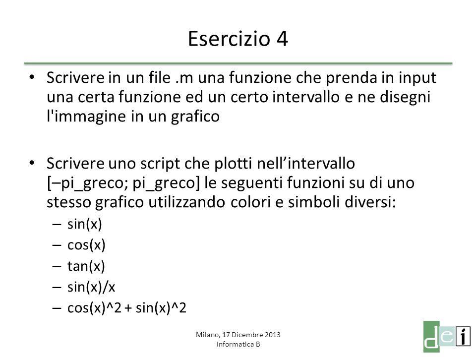 Milano, 17 Dicembre 2013 Informatica B Esercizio 5 Scrivere una funzione che calcoli in modo iterativo il valore di X n (si utilizzino solo moltiplicazioni), dove X ed n costituiscono gli input della funzione Scrivere una funzione che calcoli in modo ricorsivo il valore di X n (si utilizzino solo moltiplicazioni), dove X ed n costituiscono gli input della funzione