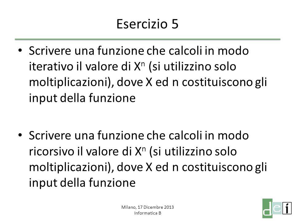 Milano, 17 Dicembre 2013 Informatica B Esercizio 6 Scrivere una funzione che riceva in input un numero N e faccia le seguenti operazioni: – Generi un vettore A di N numeri random tra 0 e 1 – Generi un vettore B (diverso da A) di N numeri random tra 0 e 1 – Calcoli il vettore C come somma dei quadrati di A e di B elemento per elemento – Calcoli il vettore logico D che rappresenta i numeri di C minori o uguali ad 1 – Calcoli quanti sono gli elementi che verificano la precedente condizione e salvi il valore in E – La funzione ritorna il valore di E moltiplicato per 4 e diviso per N Scrivere uno script che invoca la funzione passandogli potenze crescenti di 10: da 10^0 a 10^7 Si stampi un grafico dell'andamento dell'output della funzione in relazione al dato N in ingresso Cosa fa questa funzione.