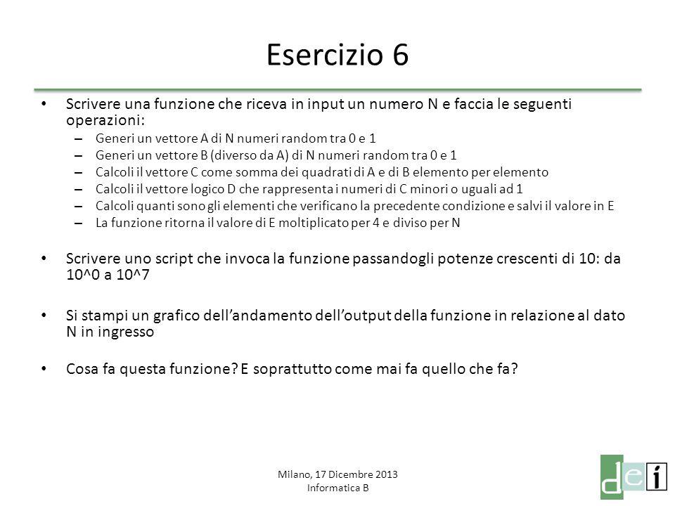 Milano, 17 Dicembre 2013 Informatica B Esercizio 7 Si scriva una funzione iterativa per il calcolo del fattoriale di un numero Si scriva l'equivalente funzione ricorsiva per il calcolo del fattoriale Si confronti l'output della funzione factorial di matlab