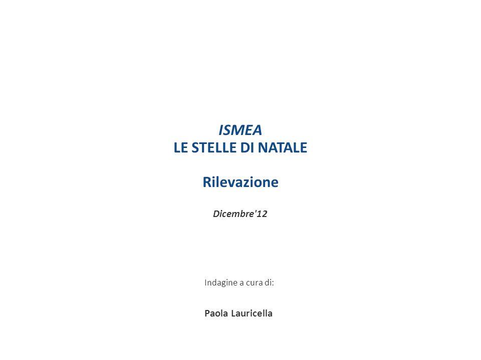 ISMEA LE STELLE DI NATALE Rilevazione Dicembre'12 Indagine a cura di: Paola Lauricella