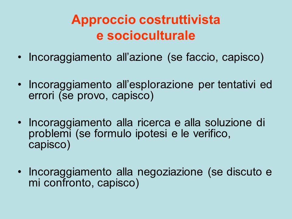 Approccio costruttivista e socioculturale Incoraggiamento all'azione (se faccio, capisco) Incoraggiamento all'esplorazione per tentativi ed errori (se