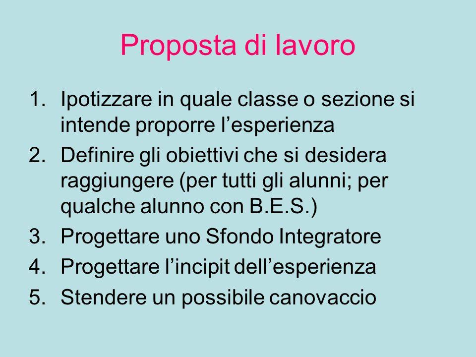 Proposta di lavoro 1.Ipotizzare in quale classe o sezione si intende proporre l'esperienza 2.Definire gli obiettivi che si desidera raggiungere (per t