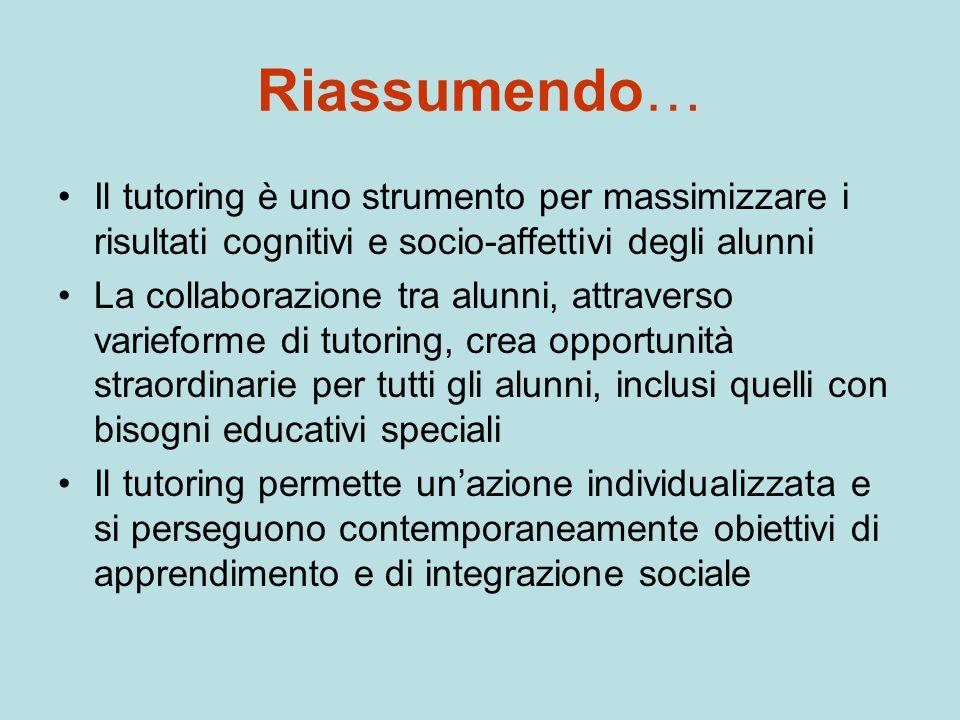 Riassumendo… Il tutoring è uno strumento per massimizzare i risultati cognitivi e socio-affettivi degli alunni La collaborazione tra alunni, attravers