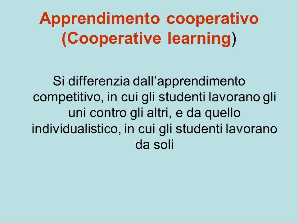 Apprendimento cooperativo (Cooperative learning) Si differenzia dall'apprendimento competitivo, in cui gli studenti lavorano gli uni contro gli altri,