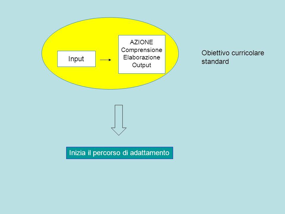 Input AZIONE Comprensione Elaborazione Output Obiettivo curricolare standard Inizia il percorso di adattamento