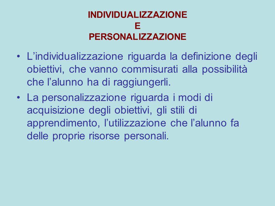 INDIVIDUALIZZAZIONE E PERSONALIZZAZIONE L'individualizzazione riguarda la definizione degli obiettivi, che vanno commisurati alla possibilità che l'al