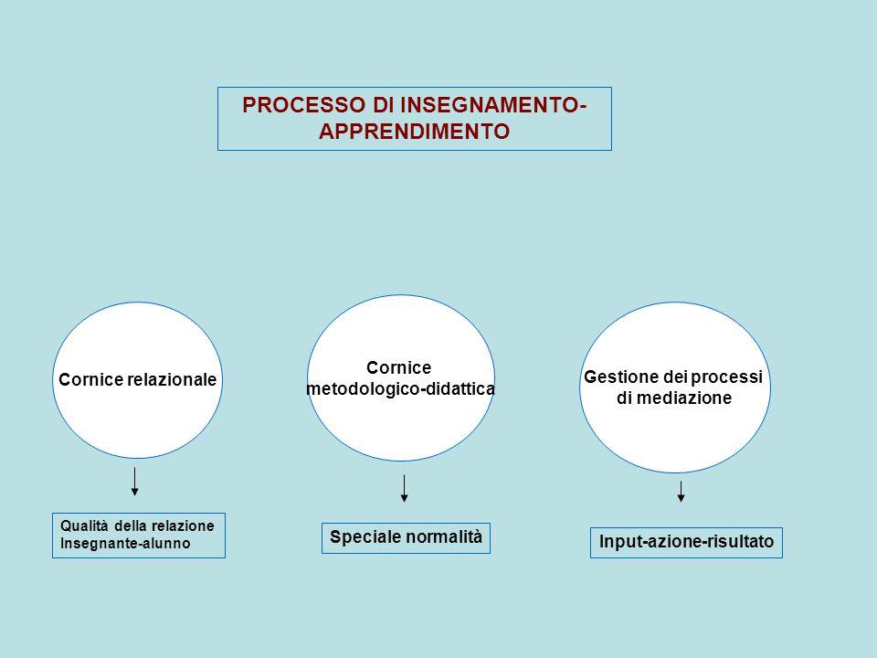Cornice metodologico-didattica Cornice relazionale Gestione dei processi di mediazione PROCESSO DI INSEGNAMENTO- APPRENDIMENTO Qualità della relazione