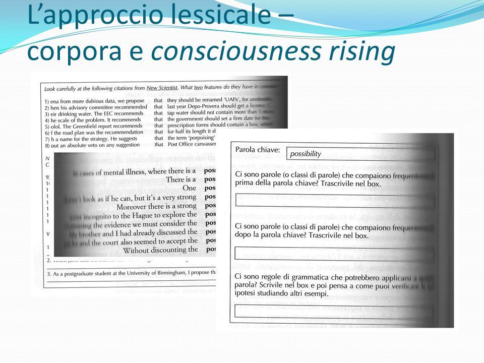 L'approccio lessicale – corpora e consciousness rising