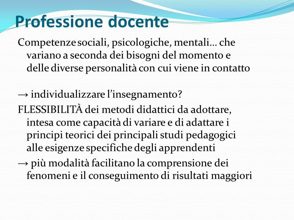 Professione docente Competenze sociali, psicologiche, mentali… che variano a seconda dei bisogni del momento e delle diverse personalità con cui viene