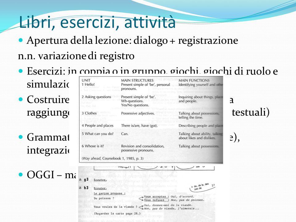 Libri, esercizi, attività Apertura della lezione: dialogo + registrazione n.n. variazione di registro Esercizi: in coppia o in gruppo, giochi, giochi