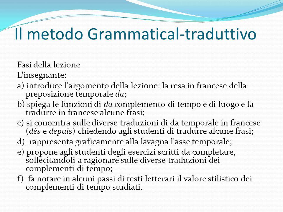 Il metodo Grammatical-traduttivo Fasi della lezione L'insegnante: a) introduce l'argomento della lezione: la resa in francese della preposizione tempo