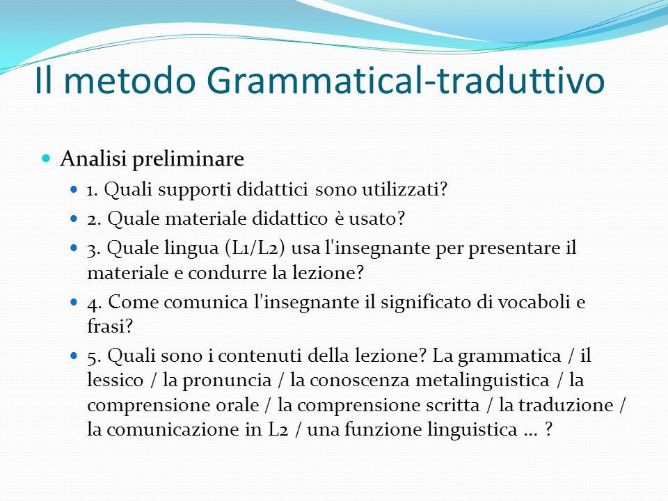 Analisi preliminare 1. Quali supporti didattici sono utilizzati? 2. Quale materiale didattico è usato? 3. Quale lingua (L1/L2) usa l'insegnante per pr