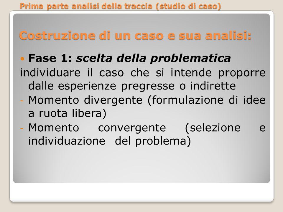 Costruzione di un caso e sua analisi: Fase 1: scelta della problematica individuare il caso che si intende proporre dalle esperienze pregresse o indir