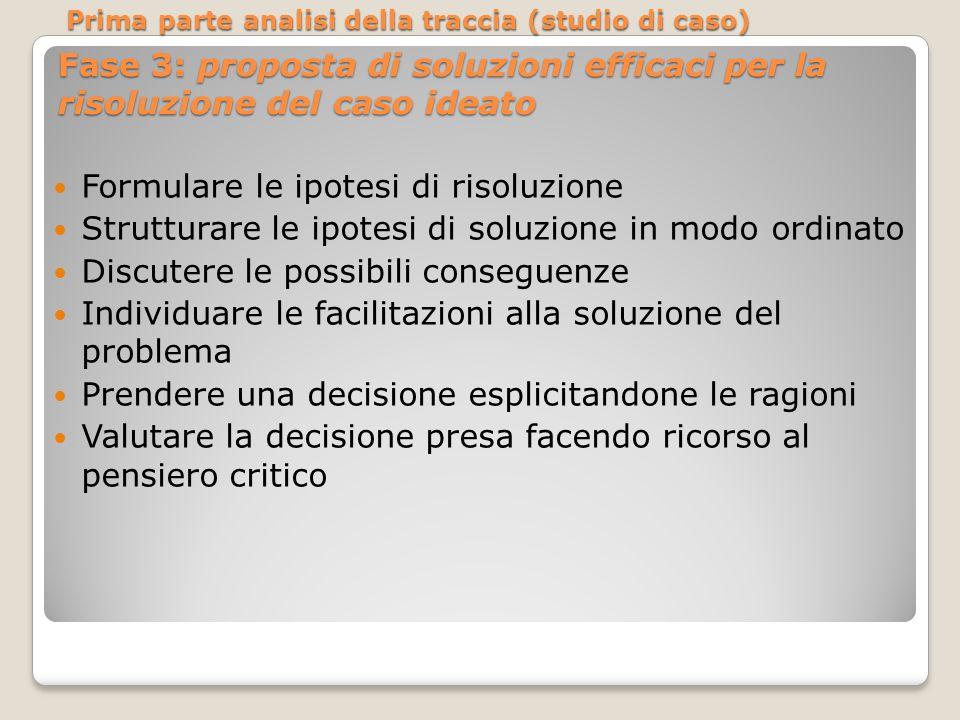 Fase 3: proposta di soluzioni efficaci per la risoluzione del caso ideato Formulare le ipotesi di risoluzione Strutturare le ipotesi di soluzione in m