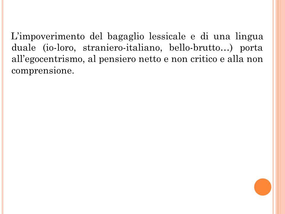 L'impoverimento del bagaglio lessicale e di una lingua duale (io-loro, straniero-italiano, bello-brutto…) porta all'egocentrismo, al pensiero netto e