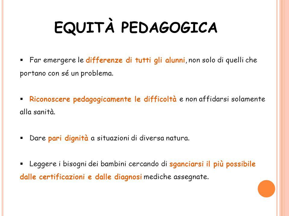 EQUITÀ PEDAGOGICA  Far emergere le differenze di tutti gli alunni, non solo di quelli che portano con sé un problema.  Riconoscere pedagogicamente l