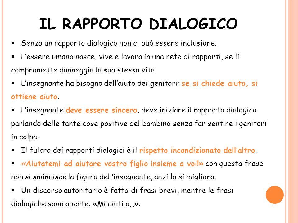 IL RAPPORTO DIALOGICO  Senza un rapporto dialogico non ci può essere inclusione.  L'essere umano nasce, vive e lavora in una rete di rapporti, se li