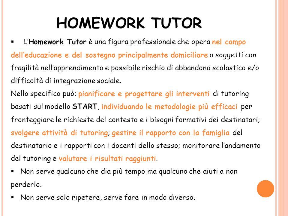 HOMEWORK TUTOR  L'Homework Tutor è una figura professionale che opera nel campo dell'educazione e del sostegno principalmente domiciliare a soggetti