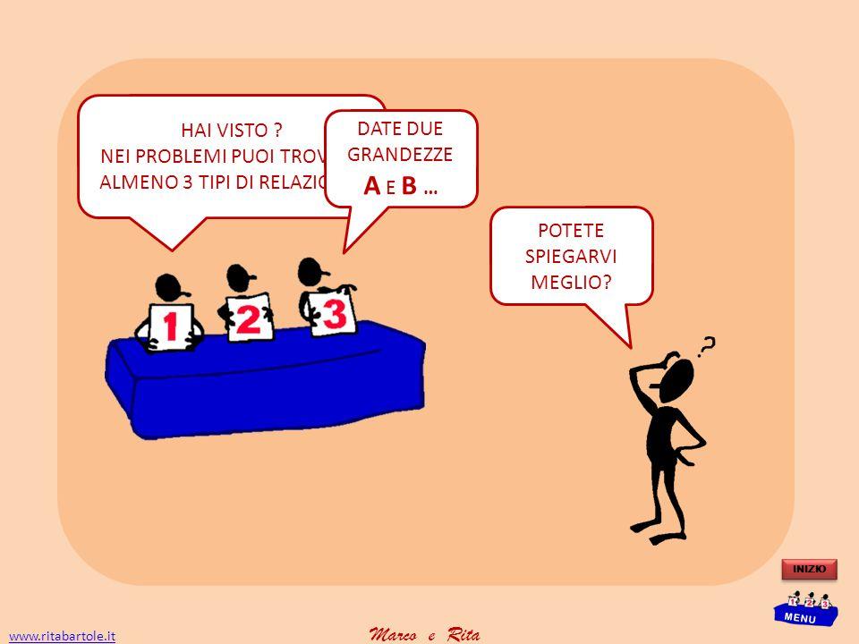 www.ritabartole.itwww.ritabartole.it Marco e Rita INIZIO MENU A è frazione di B Conosco la differenza e la somma tra A e B Conosco la differenza e la somma tra A e B B è multiplo di A   
