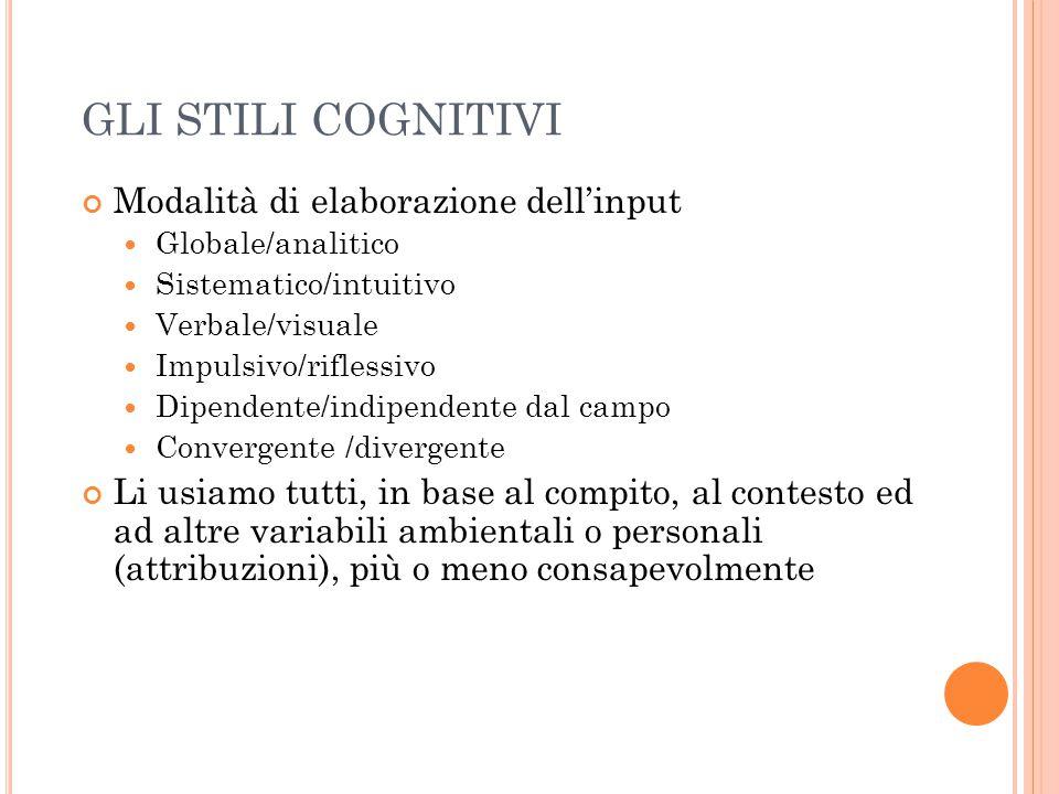 GLI STILI COGNITIVI Modalità di elaborazione dell'input Globale/analitico Sistematico/intuitivo Verbale/visuale Impulsivo/riflessivo Dipendente/indipe