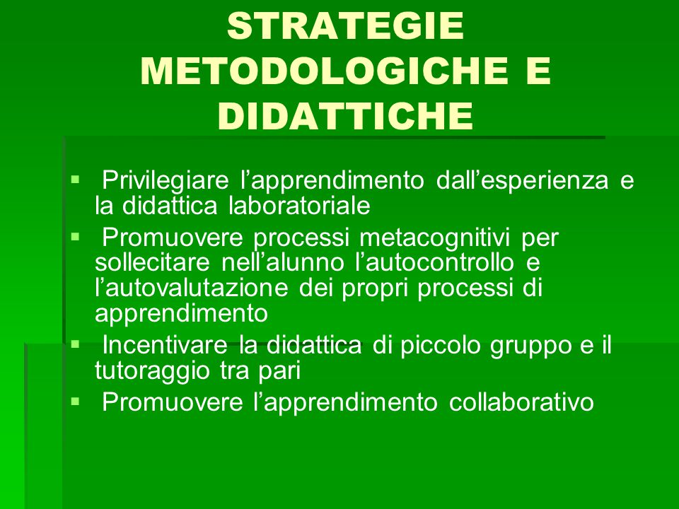 STRATEGIE METODOLOGICHE E DIDATTICHE   Privilegiare l'apprendimento dall'esperienza e la didattica laboratoriale   Promuovere processi metacogniti