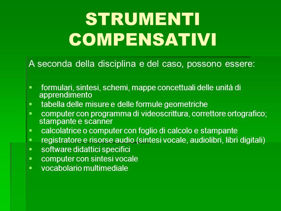 STRUMENTI COMPENSATIVI A seconda della disciplina e del caso, possono essere:   formulari, sintesi, schemi, mappe concettuali delle unità di apprend