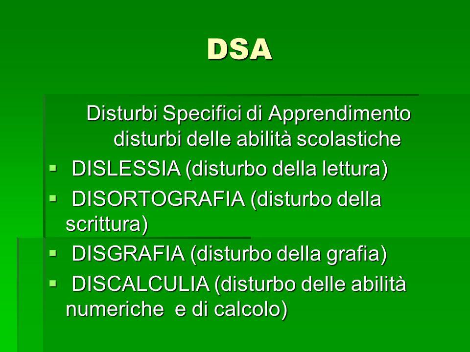 DSA Disturbi Specifici di Apprendimento disturbi delle abilità scolastiche  DISLESSIA (disturbo della lettura)  DISORTOGRAFIA (disturbo della scritt
