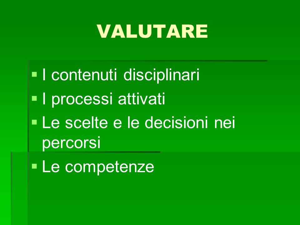 VALUTARE   I contenuti disciplinari   I processi attivati   Le scelte e le decisioni nei percorsi   Le competenze