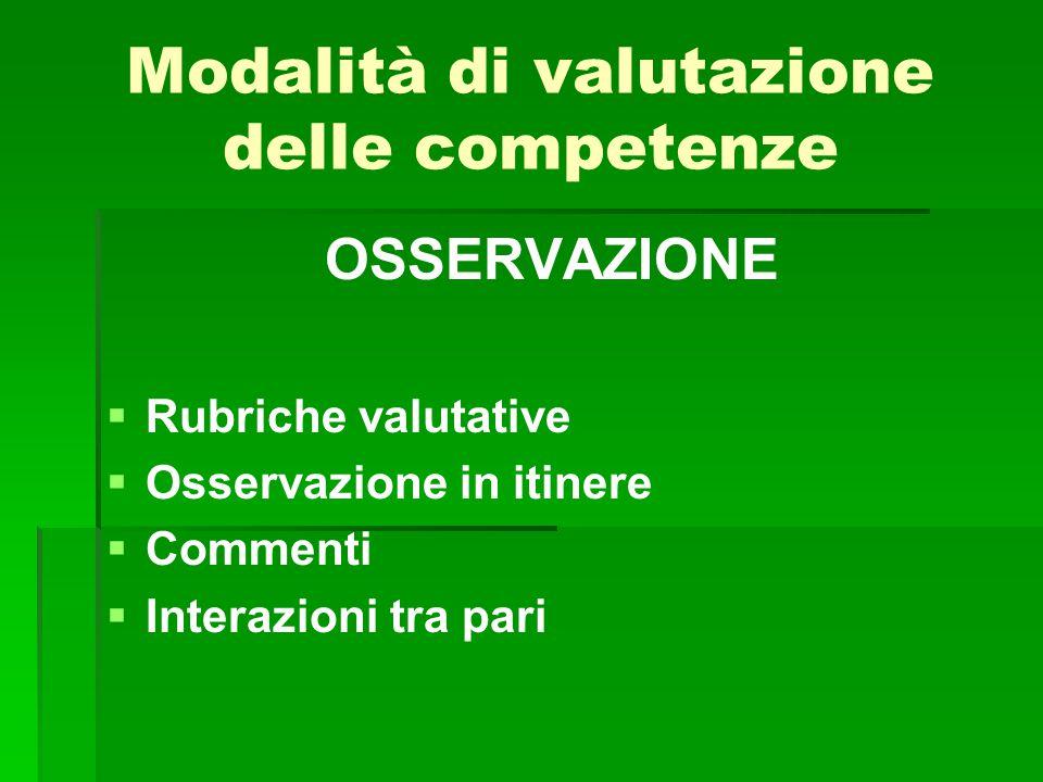 Modalità di valutazione delle competenze OSSERVAZIONE   Rubriche valutative   Osservazione in itinere   Commenti   Interazioni tra pari