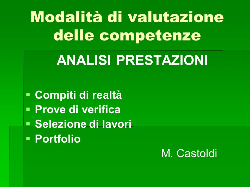 Modalità di valutazione delle competenze ANALISI PRESTAZIONI   Compiti di realtà   Prove di verifica   Selezione di lavori   Portfolio M. Cast