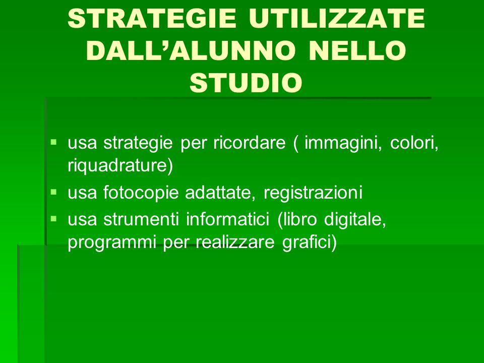 STRATEGIE UTILIZZATE DALL'ALUNNO NELLO STUDIO   usa strategie per ricordare ( immagini, colori, riquadrature)   usa fotocopie adattate, registrazi