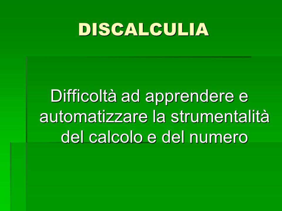 DISCALCULIA   deficit a carico del senso del numero o della rappresentazione della quantità   deficit a carico della formazione e del recupero di fatti numerici e aritmetici   deficit a carico delle procedure di calcolo