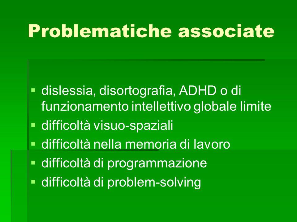 Problematiche associate   dislessia, disortografia, ADHD o di funzionamento intellettivo globale limite   difficoltà visuo-spaziali   difficoltà